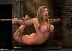 Sara Jay in  Hogtied MILF with EE tits has so many orgasms ripped out of her Cries from the brutal emotion of it all January 13, 2011  Handler, Suspension