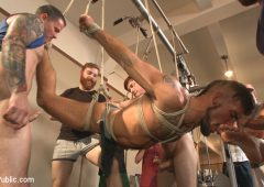 Connor Maguire in  Boundinpublic Connor Maguire's Gym Slave Takes on a Weight Room Full of Cocks November 13, 2015  Cock Worship, Punching