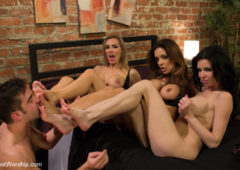 Francesca LeLogan Pierce in  Footworship 3 Legendary MILF Superstars and the Pizza Boy! February 22, 2013  Smoking, Stockings