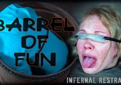 Rain DeGrey in  Infernalrestraints Barrel of Fun August 26, 2016  Cut Clothing, Foot Torture
